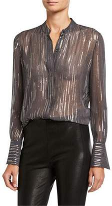 Equipment Jecinthe Metallic Embellished Button-Down Sheer Blouse