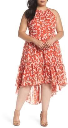 Eliza J Ruffle Hem Halter Neck Chiffon Dress