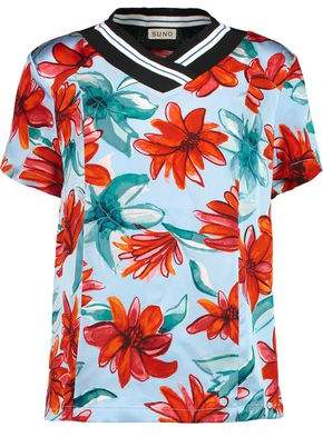 Suno Intarisa Knit-Trimmed Floral-Print Silk-Satin Top