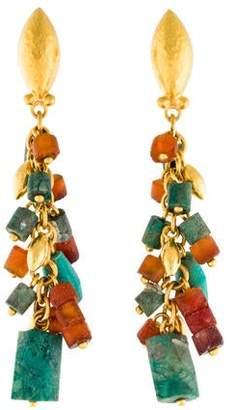 Gurhan 24K Phoenician Turquoise Tassel Earrings