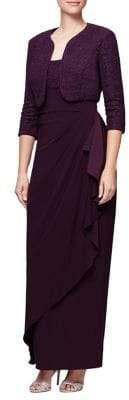Alex Evenings Glimmering Two-Piece Bolero & Dress Set