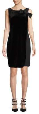Karl Lagerfeld Paris Sleeveless Bow Shoulder Velvet Overlay Shift Dress