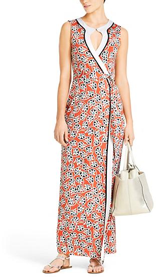 Diane von Furstenberg Peninsula Silk Jersey Maxi Dress In Indian Garden Red