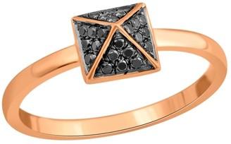 Artisan 18K Rose Gold Pave Black Diamonds Spike Designer Ring