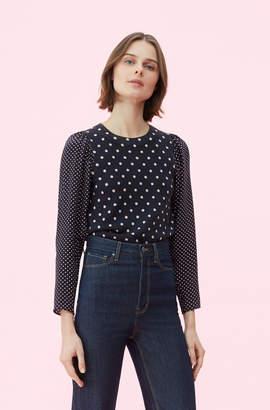 Rebecca Taylor Silk Sleeve Dot Print Pullover