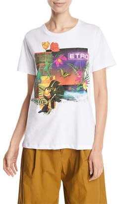 Etro Tropical-Floral Neon Cactus Logo Tee
