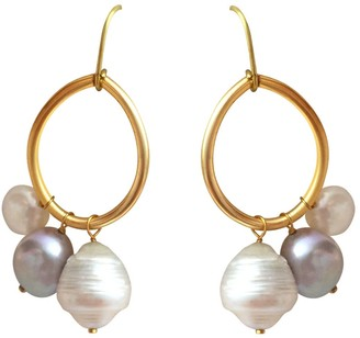 Lily Flo Jewellery Large Solid Gold Hoop Earrings With Grey & White Freshwater & Baroque Pearls