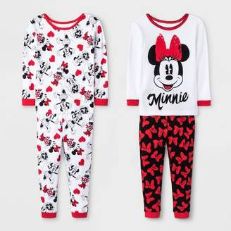 Minnie Mouse Toddler Girls' 4pc Minnie Mouse Pajama Set - White/Red