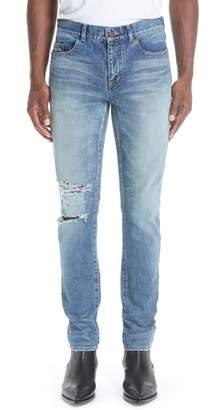 Saint Laurent Destroyed Light Skinny Fit Jeans