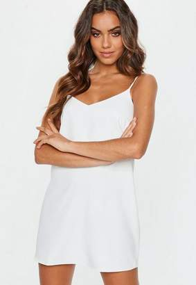 Missguided Tall White Crepe Cami Strap Shift Dress