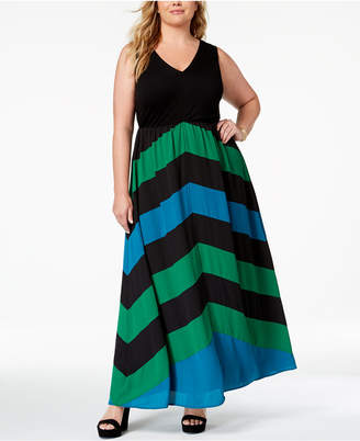 INC International Concepts I.n.c. Plus Size Chevron Maxi Dress