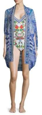 Camilla Feather Open Front Silk Cardigan
