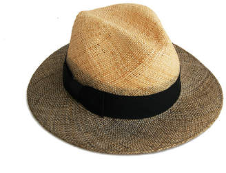 Justine Hats Fedora Straw Hat w/ Gray Brim