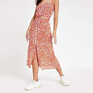 River Island Red printed button front midi skirt
