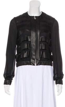 Oscar de la Renta Silk Leather-Trimmed Jacket
