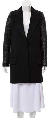 The Row Leather-Trimmed Wool Coat