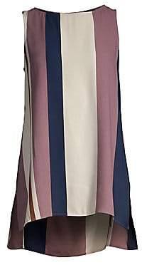 Eileen Fisher Women's Stripe Bateau Neck Silk Top