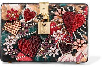 Dolce & Gabbana Dolce Box Embellished Floral-print Jacquard And Watersnake Shoulder Bag - Red