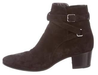 Saint Laurent Suede Round-Toe Ankle Boots