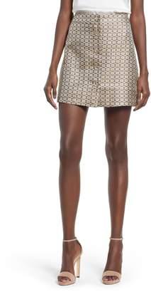 WAYF Pelham Button Front Miniskirt