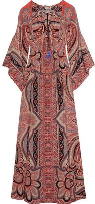 Etro - Tassel-trimmed Paisley-print Silk Gown - Burgundy $2,850 thestylecure.com