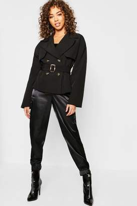 boohoo Cropped Trench Jacket