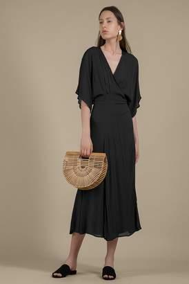 Genuine People Short Sleeved Silk Wrap Maxi Dress