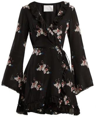 Athena Procopiou - Floral Print Silk Dress - Womens - Black Print