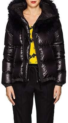 Sacai Women's Faux-Fur-Collar Down Tech-Puffer Coat - Black, Navy