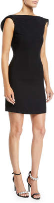 Calvin Klein Scoop-Back Square-Neck Viscose Cady Mini Dress