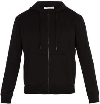 Off-White Stripe-sleeve hooded cotton sweatshirt