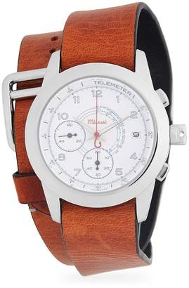 Miansai Men's Stainless Steel Chronograph Double Leather-Strap Watch