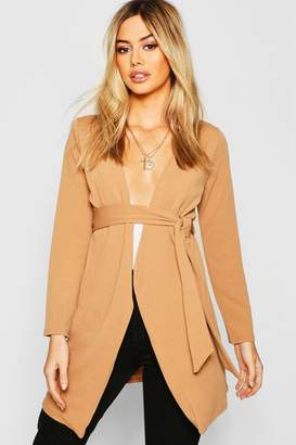 boohoo Petite Mock Horn Buckle Belted Duster Jacket