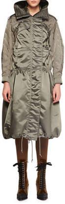 Chloé Belted Shiny Nylon Canvas Knee-Length Coat w/ Horse Sleeve Detail