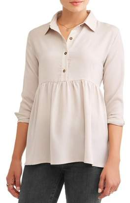 Lucca Couture Women's Jessica Peplum Long Sleeve Blouse