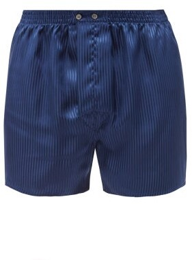 Derek Rose Woburn Silk Boxer Shorts - Mens - Navy Stripe