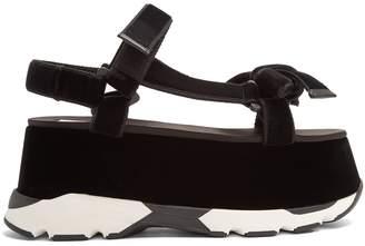 No.21 NO. 21 Bow-front velvet flatform sandals