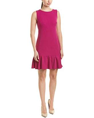 Betsey Johnson Women's Sleeveless Scuba Crepe Dress with Ruffled Hem