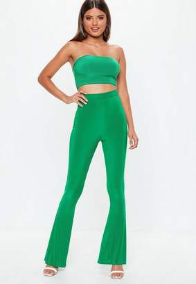 Missguided Green Slinky Flare Pants