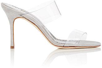 Manolo Blahnik Women's Scolto Suede & PVC Mules $695 thestylecure.com