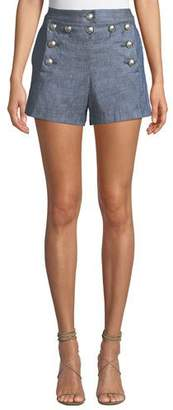 Veronica Beard Hoya Viscose-Linen High-Waist Shorts
