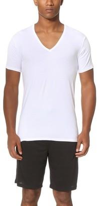 Calvin Klein Underwear Liquid Stretch Short Sleeve Untuckable V Neck Tee $34 thestylecure.com