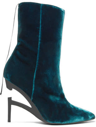 Unravel Project Velvet Ankle Boots - Green