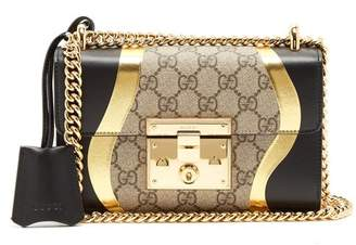 Gucci Padlock Gg Supreme Leather Shoulder Bag - Womens - Black Gold