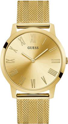 1874552b3fa GUESS Men Richmond Gold-Tone Stainless Steel Mesh Bracelet Watch 44mm