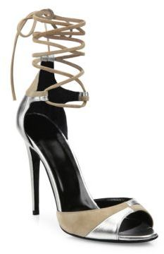Pierre Hardy Parade Metallic Leather & Suede Ankle-Wrap Sandals $795 thestylecure.com