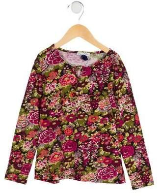 Oscar de la Renta Girls' Floral Long Sleeve Top