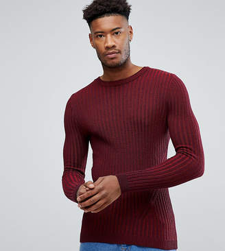 Asos Tall Muscle Fit Ribbed Jumper In Burgundy