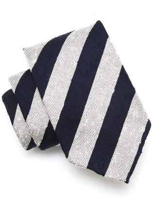 Drakes Drake's Silk Stripe Tie in Navy/White