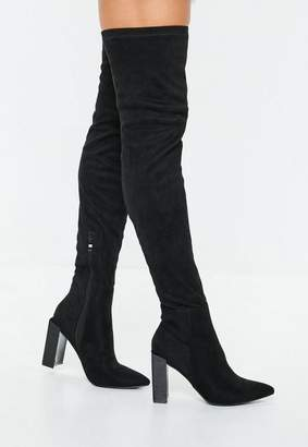 Missguided Black Pointed Toe Over The Knee Faux Suede Boots